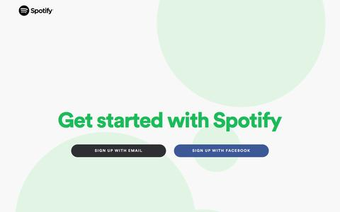 Screenshot of Signup Page spotify.com - Sign up  - Spotify - captured Feb. 16, 2017