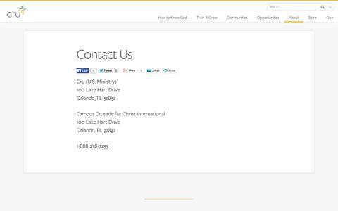 Screenshot of Contact Page cru.org - Contact Us - captured Sept. 19, 2014