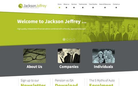 Screenshot of Home Page jjfsltd.com - Jackson Jeffrey - Independent Financial Advisers in Stratford on Avon Jackson Jeffrey - captured Oct. 6, 2014