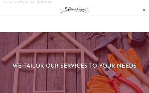 Screenshot of Services Page millbrookkitchencabinets.com - Services – MKC Inc. - captured Oct. 26, 2017