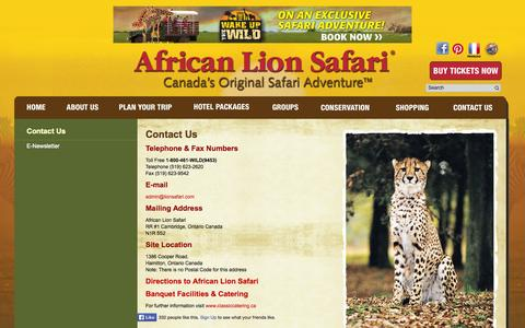 Screenshot of Contact Page lionsafari.com - African Lion Safari - Contact Us - captured Oct. 30, 2014