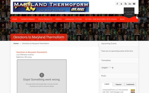Screenshot of Maps & Directions Page mdthermo.com - Directions to Maryland Thermoform - Maryland Thermoform - captured Oct. 30, 2016