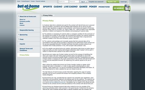 Screenshot of Privacy Page bet-at-home.com - bet-at-home.com – Online Sports Betting, Casino, Games, Poker - captured Sept. 18, 2014