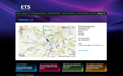 Screenshot of Contact Page etscommunications.co.uk - ETS Communications, Telephone Solutions, Network Services, Network Cabling, VoIP Solutions, Advanced Voice and Data Applications - captured Oct. 1, 2014