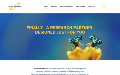 Screenshot of Home Page stirisresearch.com - Welcome To Stiris - Clinical Research Services - Stiris Research - captured Dec. 2, 2016