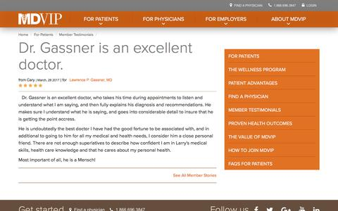 Screenshot of Testimonials Page mdvip.com - Dr. Gassner is an excellent doctor. | MDVIP - captured May 5, 2018