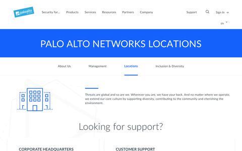 Screenshot of Locations Page paloaltonetworks.com - Locations - Palo Alto Networks - captured May 26, 2018