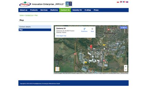 """Screenshot of Contact Page Maps & Directions Page impuls.pl - Map - Innovation Enterprise """"IMPULS"""" - captured May 28, 2016"""