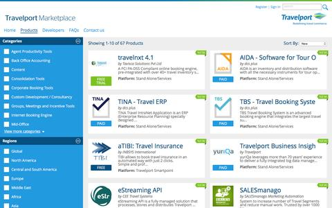 Screenshot of Products Page travelportmarketplace.com - Travelport Marketplace - Browse Products - captured Jan. 27, 2017