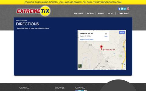 Screenshot of Maps & Directions Page extremetix.com - Directions - captured Sept. 19, 2014