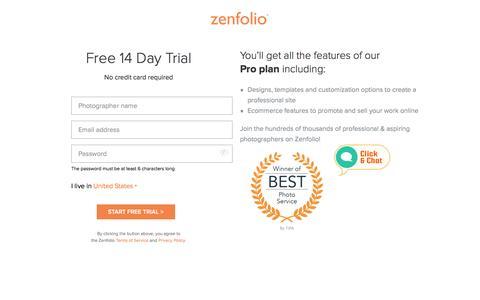 Screenshot of Trial Page zenfolio.com - Start Your Free Trial - Zenfolio - captured June 16, 2016
