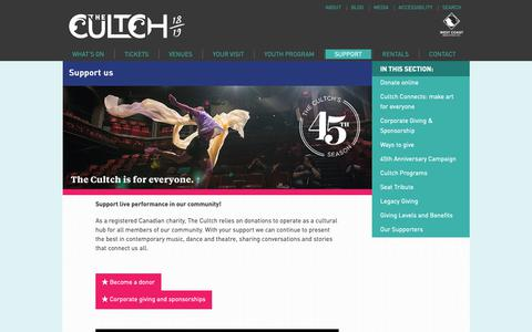 Screenshot of Support Page thecultch.com - Support - The Cultch - captured Nov. 18, 2018