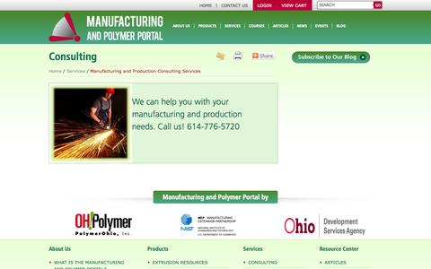 Screenshot of Services Page manufacturingportal.org - Manufacturing and Production Consulting Services | Manufacturing and Polymer Portal - captured Oct. 4, 2014