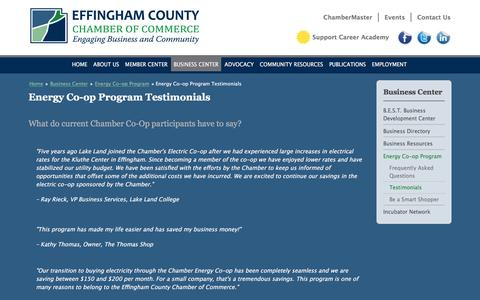 Screenshot of Testimonials Page effinghamcountychamber.com - Energy Co-op Program Testimonials | Effingham County IL Chamber of Commerce - captured Feb. 2, 2016