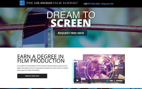 Screenshot of Landing Page lafilm.edu - go.lafilm.edu  The Los Angeles Film School - go.lafilm.edu - captured Aug. 3, 2016
