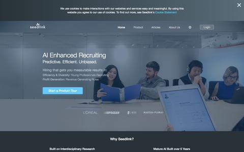 Screenshot of Home Page seedlinktech.com - Seedlink AI, Predictive Insights for HR Tech Talent Management - captured July 11, 2019