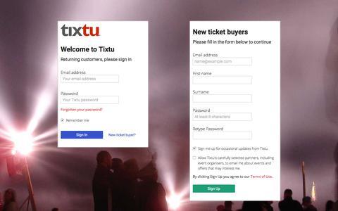 Screenshot of Login Page tixtu.com - Tixtu | Sign in to Tixtu, the events ticketing marketplace for communities - captured June 20, 2017