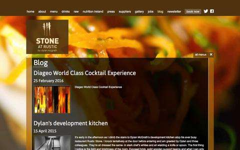 Screenshot of Blog rusticstone.ie - Rustic Stone Restaurant by Dylan McGrath - blog - captured Feb. 26, 2016