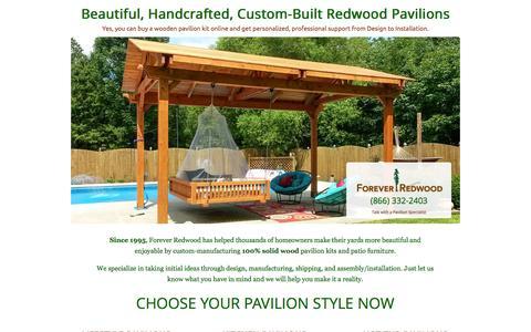 Screenshot of Landing Page foreverredwood.com - 100% Solid Redwood Pavilions by Forever Redwood - captured Oct. 27, 2014