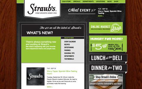 Screenshot of Blog straubs.com - What's New? | Straub's - captured Oct. 1, 2014