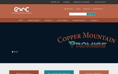 Screenshot of Home Page cmccd.edu - CMC | Copper Mountain College - captured Nov. 11, 2018