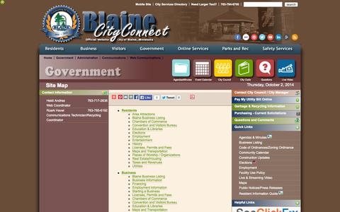 Screenshot of Site Map Page blaine.mn.us - Site Map| Web Communications |                                   Blaine MN - captured Oct. 2, 2014