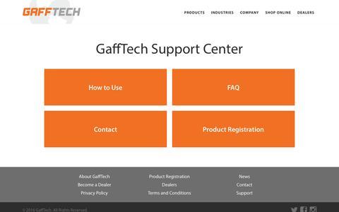 Screenshot of Support Page gaffgun.com - Support | GaffTech - captured March 1, 2016
