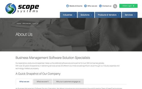 Screenshot of About Page scopesystems.com.au - About Us | Business Intelligence & ERP Solutions - Scope Systems - captured May 17, 2017