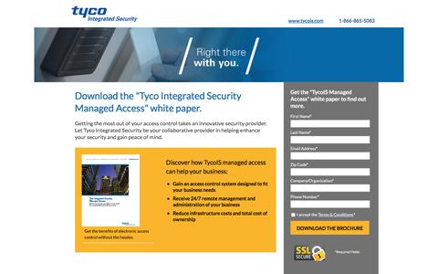 Screenshot of Landing Page tycois.com - Download the Tyco Integrated Security Managed Access White Paper | TycoIS - captured Nov. 23, 2016