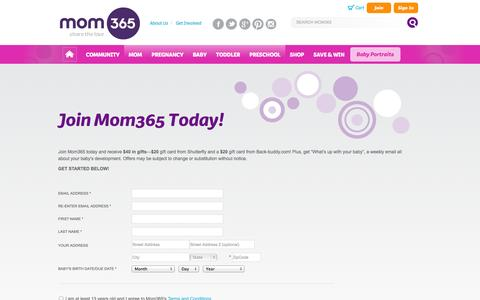 Screenshot of Signup Page mom365.com - SignUp | Mom365.com - captured Sept. 25, 2014