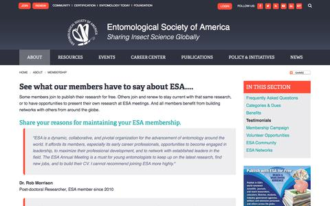 Screenshot of Testimonials Page entsoc.org - See what our members have to say about ESA.... | Entomological Society of America - captured Feb. 12, 2018
