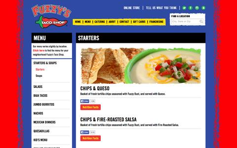Screenshot of Menu Page fuzzystacoshop.com - Starters & Soups | Starters | Starters | Menu | Fuzzy's Taco Shop - captured Nov. 3, 2014