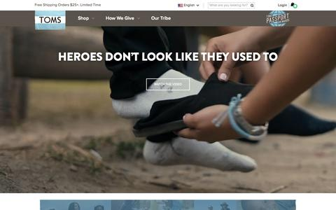 Screenshot of Home Page toms.com - TOMS : One for One - captured Oct. 5, 2015