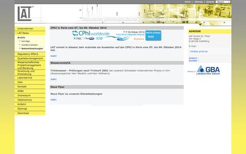 Screenshot of Press Page lat-gmbh.de - LAT: News - captured Oct. 1, 2014