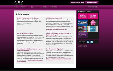 Screenshot of Press Page alida.co.uk - News | www.alida.co.uk - captured Oct. 4, 2014