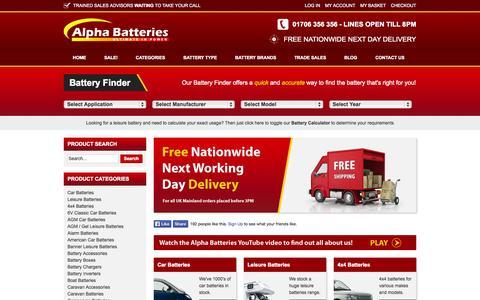 Screenshot of Home Page alpha-batteries.co.uk - Buy Car Batteries & Leisure Batteries Online - Free Next Day Delivery - Alpha Batteries - captured Sept. 30, 2014