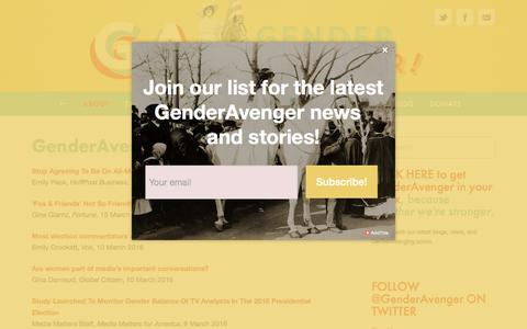 Screenshot of Press Page genderavenger.com - In the News — GenderAvenger - captured March 28, 2016