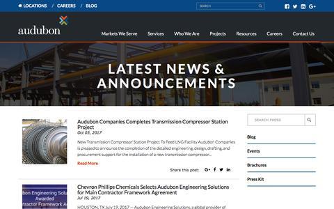 Screenshot of Press Page auduboncompanies.com - Latest News - Audubon Companies - captured Feb. 20, 2018