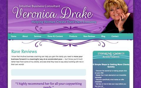 Screenshot of Testimonials Page veronicadrake.co - Rave Reviews & Client Testimonials | - captured Oct. 26, 2014
