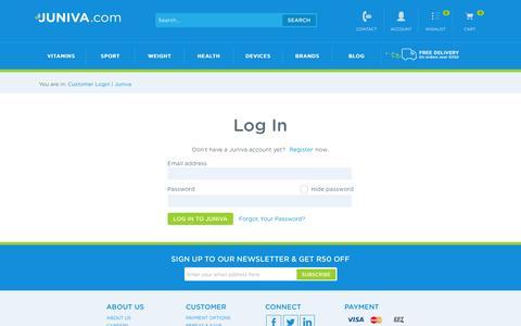Screenshot of Login Page juniva.com - Customer Login | Juniva - captured Jan. 9, 2016