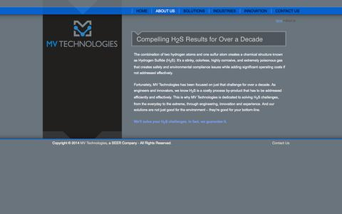 Screenshot of About Page mvseer.com - H2S Solutions through Engineering, Innovation and Experience :: MV Technologies - captured Oct. 4, 2014