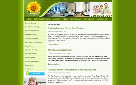 Screenshot of Press Page freshupcleaning.co.uk - News - Fresh-Up Cleaning London - captured Sept. 25, 2014