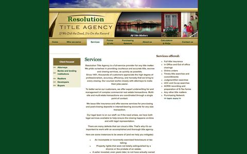 Screenshot of Services Page titleresolve.com - Resolution Title Agency :: Serving NY and NJ's title insurance, abstract searches and legal title searches for over 50 years - captured Oct. 26, 2014