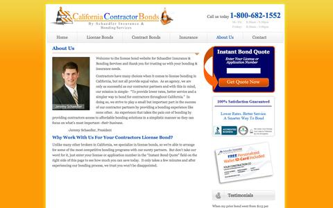 Screenshot of About Page californiacontractorbonds.com - About Us | CaliforniaContractorBonds.com - captured Sept. 27, 2014