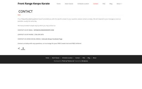 Screenshot of Contact Page coloradokenpo.com - Contact | Front Range Kenpo Karate - captured Oct. 11, 2018