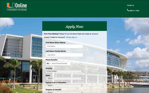 Screenshot of Signup Page miami.edu - UM Online Application - captured Sept. 21, 2018