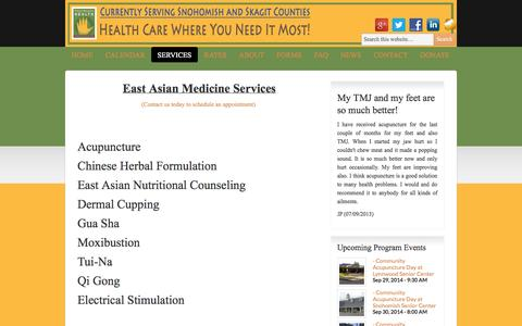 Screenshot of Services Page freerangehealth.org - Services | Free Range Health - captured Sept. 30, 2014