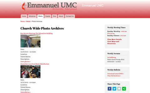 Screenshot of Press Page eumcbeltsville.com - Church Wide Photo Archives | Emmanuel UMC - captured Aug. 2, 2017