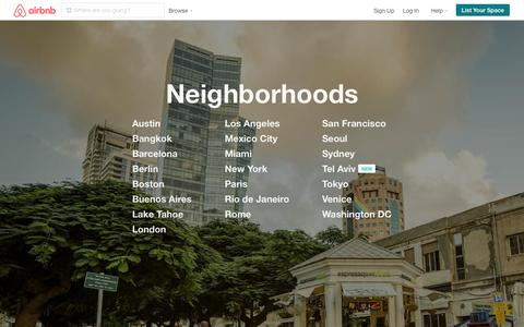 Screenshot of Locations Page airbnb.com - Airbnb Neighborhoods - Your Local Travel Guide - captured Sept. 30, 2015