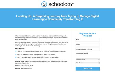Screenshot of Landing Page schoology.com - Leveling Up: A Surprising Journey from Trying to Manage Digital Learning to Completely Transforming It - captured March 24, 2017